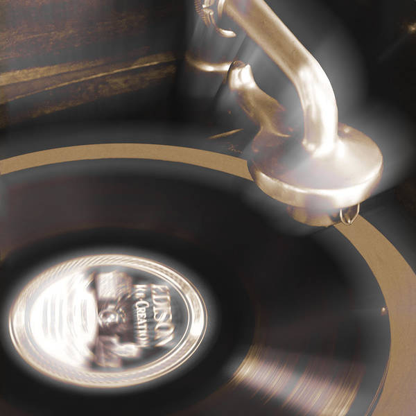 Record Player Poster featuring the photograph The Edison Record Player by Mike McGlothlen
