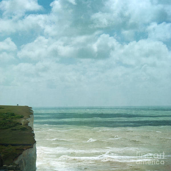 Waves Below Us Cliffs Channel Sea England South Coast Chalk Textures Flypaper Classic Defence Romance Isolation Fresh Private English Britain Uk Europe Poster featuring the photograph The Waves Bellow Us by Paul Grand