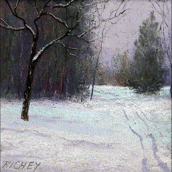 Pastel Poster featuring the pastel Trees In A Winter Fog by Bob Richey