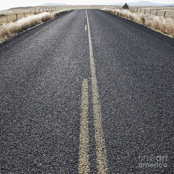 Asphalt Poster featuring the photograph Two Lane Road Between Fenced Fields by Jetta Productions, Inc