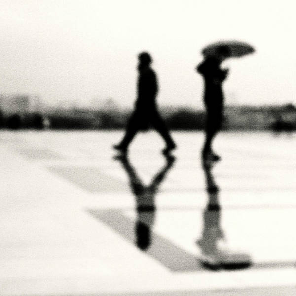 Square Poster featuring the photograph Two Men In Rain With Their Reflections by Nadia Draoui