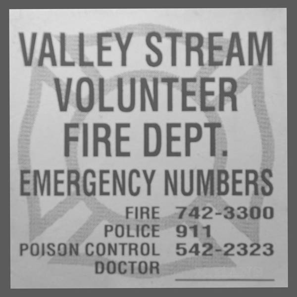 Maltese Cross Poster featuring the photograph Valley Stream Fire Department In Black And White by Rob Hans