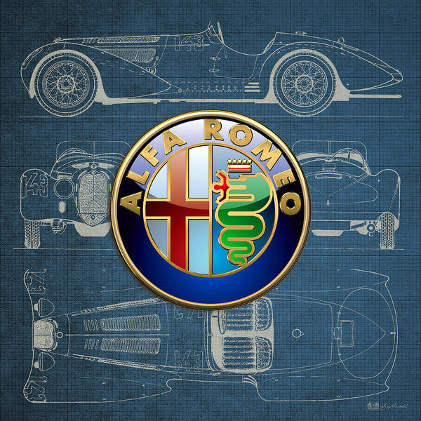 �wheels Of Fortune� By Serge Averbukh Poster featuring the photograph Alfa Romeo 3 D Badge Over 1938 Alfa Romeo 8 C 2900 B Vintage Blueprint by Serge Averbukh
