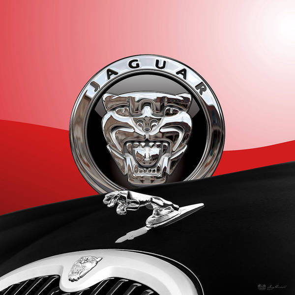 'auto Badges' Collection By Serge Averbukh Poster featuring the photograph Black Jaguar - Hood Ornaments And 3 D Badge On Red by Serge Averbukh