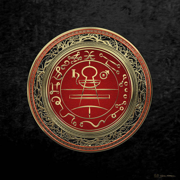 'sacred Symbols' Collection By Serge Averbukh Poster featuring the photograph Gold Seal Of Solomon - Lesser Key Of Solomon On Black Velvet by Serge Averbukh