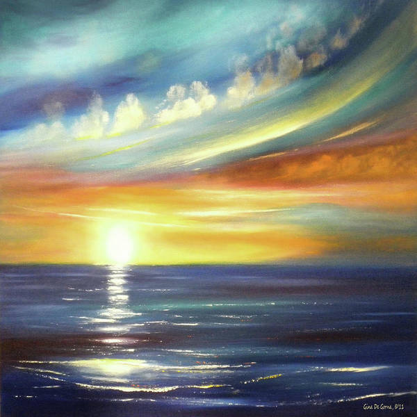 Sunset Poster featuring the painting Here It Goes - Square Sunset Painting by Gina De Gorna