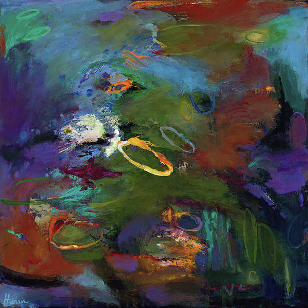 Abstract Expressionistic Poster featuring the painting Late Last Night by Johnathan Harris