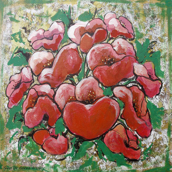 Poppies Poster featuring the painting Poppies by Gina De Gorna
