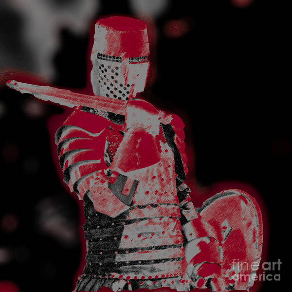 Medieval Knight Photographs Poster featuring the photograph Red Knight by Lillian Michi Adams