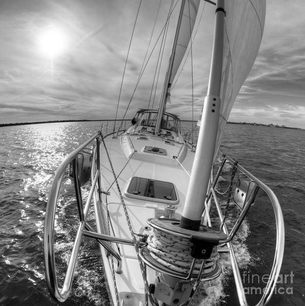 Sailing poster featuring the photograph sailing yacht fate beneteau 49 black and white by dustin k