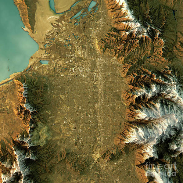 Topographic Map Game.Salt Lake City Topographic Map Natural Color Top View Poster By