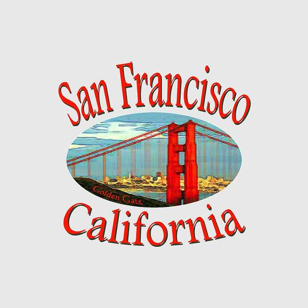 Sanfrancisco Poster featuring the mixed media San Francisco California Design by Peter Potter
