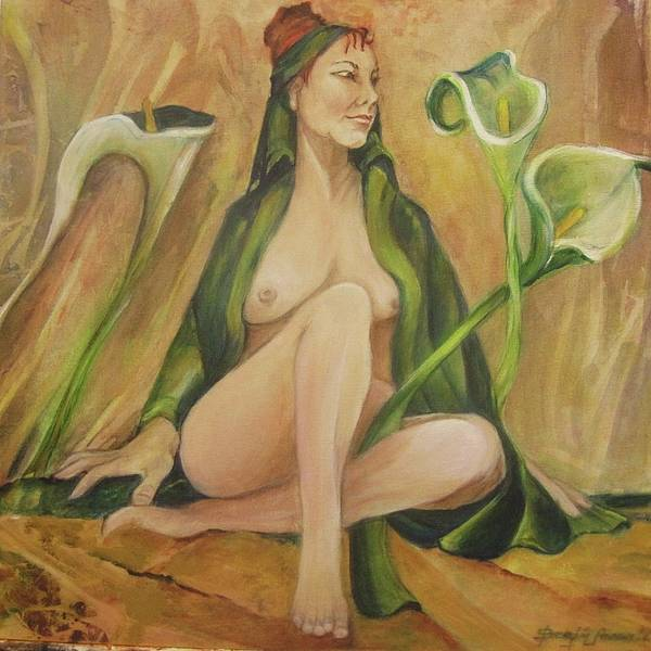 Figurative Poster featuring the painting Tabitha With Lilies by Georgia Annwell