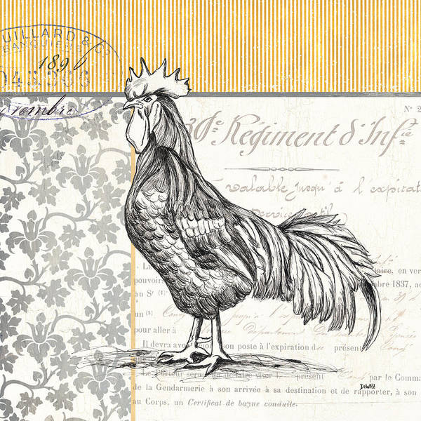 Rooster Poster featuring the painting Vintage Farm 1 by Debbie DeWitt