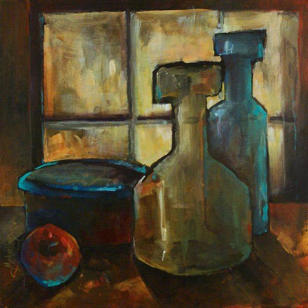 Still Life Fruit Apples Jars Bottles Dusk Lighting Mood Poster featuring the painting Waiting by Michael Lang