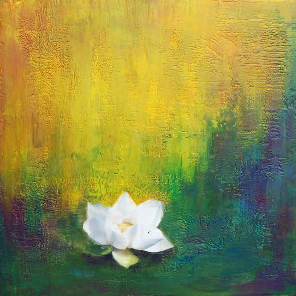 Encaustic Poster featuring the painting White Lotus by Joya Paul