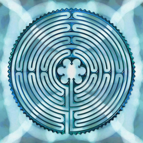 Labyrinths Poster featuring the digital art 11 Chartres - Beyond Sky by Fine Art Labyrinths