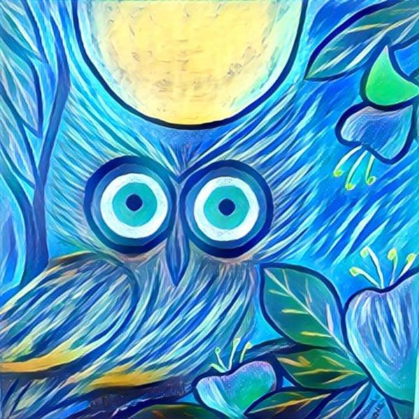 Poster featuring the digital art Owl Midnight by Melinda Sullivan Image and Design