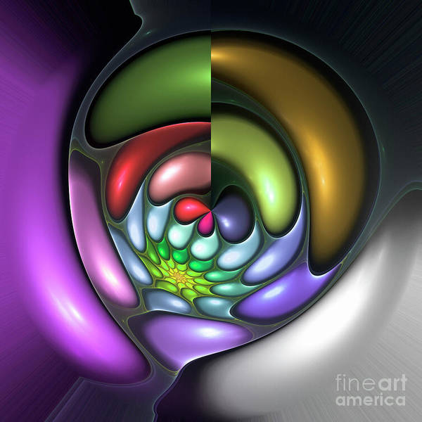 Colorful Abstract Art Design Bubble Flower Spiral Expressionism Color Purple Green Poster featuring the digital art Colorful by Steve K