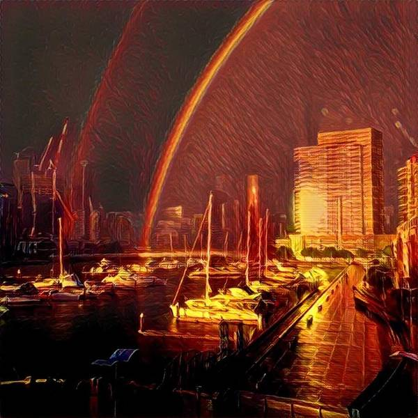 Poster featuring the digital art Docklands Double Rainbow by Melinda Sullivan Image and Design