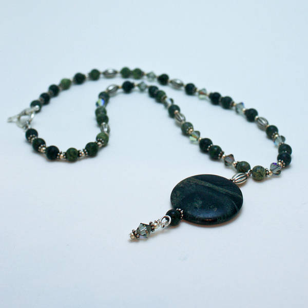 Handmade Poster featuring the jewelry 3577 Kambaba And Green Lace Jasper Necklace by Teresa Mucha