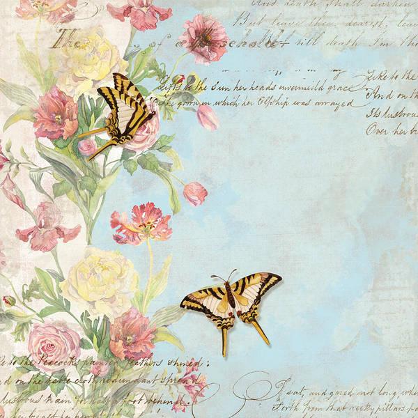 Watercolor W Butterflies In A French