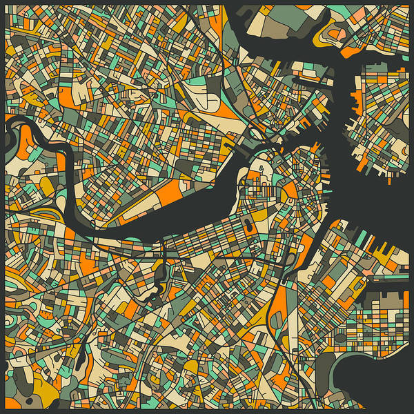 Boston Map Poster featuring the digital art Boston Map by Jazzberry Blue