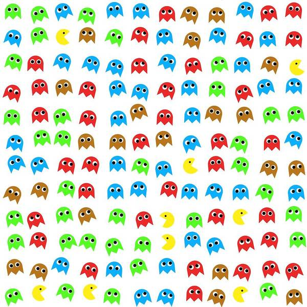 Monsters Poster featuring the digital art Game Monsters Seamless Generated Pattern by Miroslav Nemecek