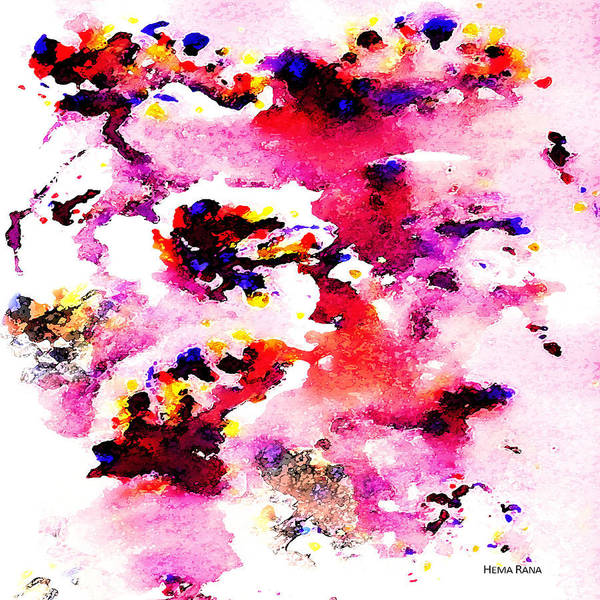 Abstract Art Poster featuring the painting Abstract Art by Hema Rana