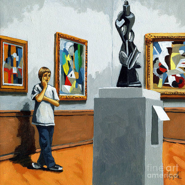 Young Boy Poster featuring the painting Abstract Position by Linda Apple