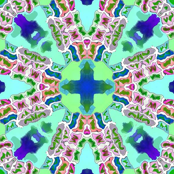 Blue Poster featuring the digital art Abstract Seamless Pattern - Blue Green Purple Pink White by Lenka Rottova