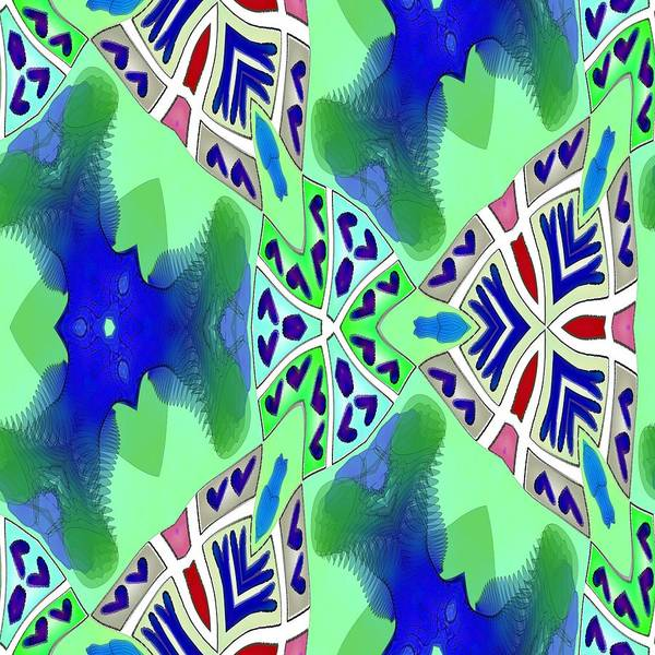 Fractal Poster featuring the digital art Abstract Seamless Pattern - Blue Green Turquoise Red White by Lenka Rottova