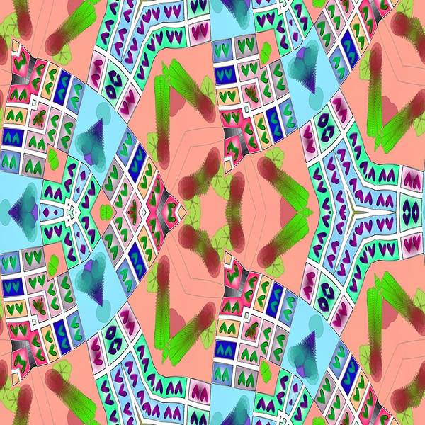 Fractal Poster featuring the digital art Abstract Seamless Pattern - Blue Pink Green Purple by Lenka Rottova