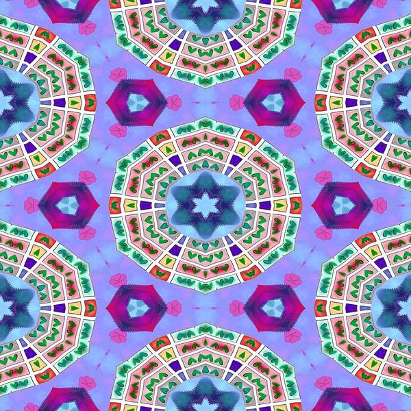 Blue Poster featuring the digital art Abstract Seamless Pattern - Blue Purple Pink Violet Lilac Orange Green by Lenka Rottova