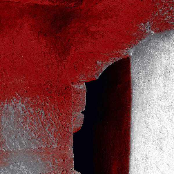 Abstract Poster featuring the photograph Abstract Square Red Black White Grey Textured Window Alcove 2a by Sue Jacobi