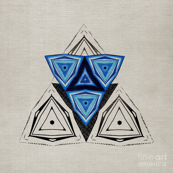 Abstraction Poster featuring the digital art Abstract Triangle Blue Pattern by Konstantin Sevostyanov