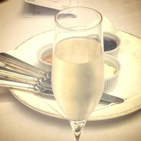 Plate Knife Cream Jam Tablecloth Champagne Prosecco Glass Fizz Bubbles Chilled Poster featuring the photograph Afternoon Tea With Champagne by In Plain Sight