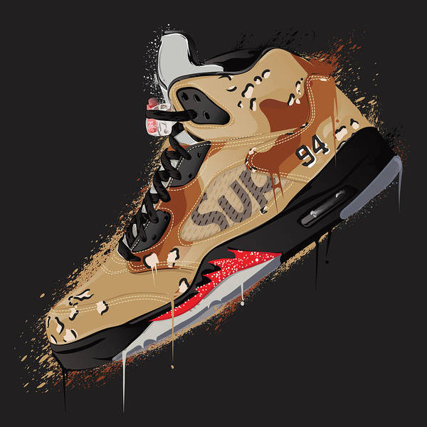 watch 78121 07232 Vector Poster featuring the digital art Air Jordan 5 Retro Supreme Desert  Camo by Tec Nificent