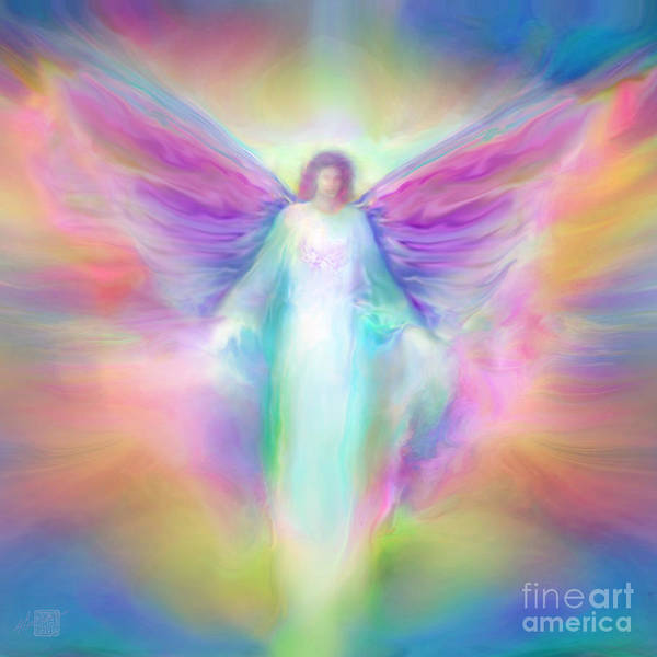 Angel Paintings Poster featuring the painting Archangel Raphael Healing by Glenyss Bourne