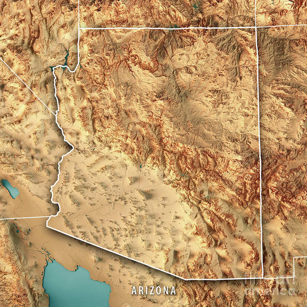 Map Of Arizona Border.Arizona State Usa 3d Render Topographic Map Border Poster