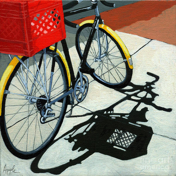 Bicycle Poster featuring the painting At The Grocery by Linda Apple