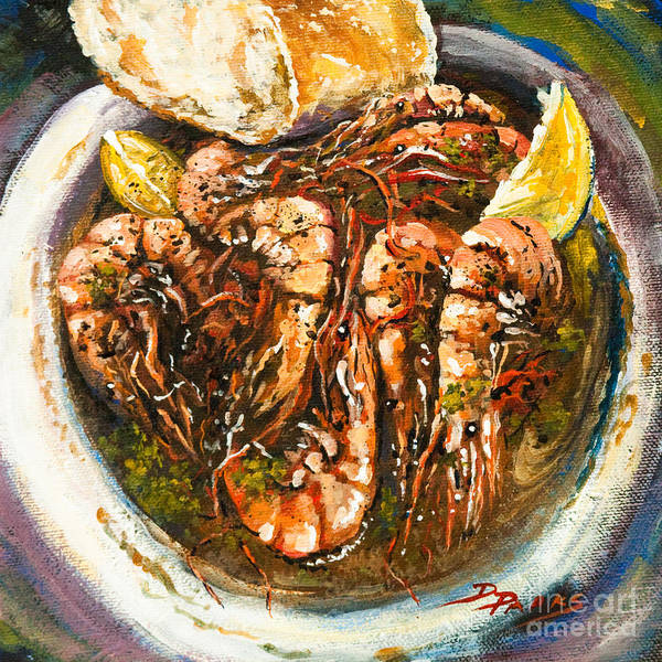 Shrimp Poster featuring the painting Barbequed Shrimp by Dianne Parks