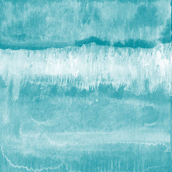 Abstract Poster featuring the mixed media Beach Day Blue- Art By Linda Woods by Linda Woods