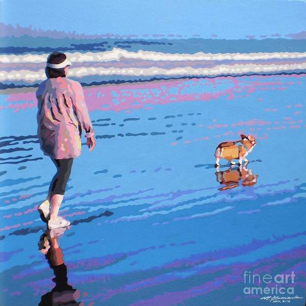 Landscape Poster featuring the painting Beach Walk V.4 by Max Yamada