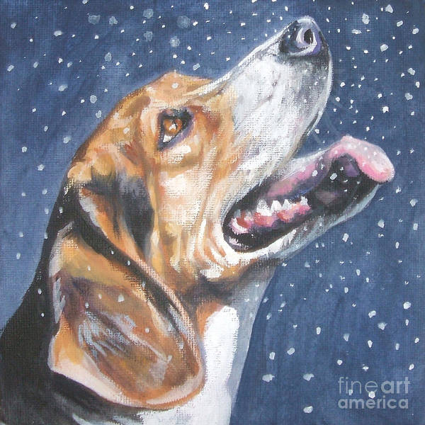 Beagle Poster featuring the painting Beagle In Snow by Lee Ann Shepard
