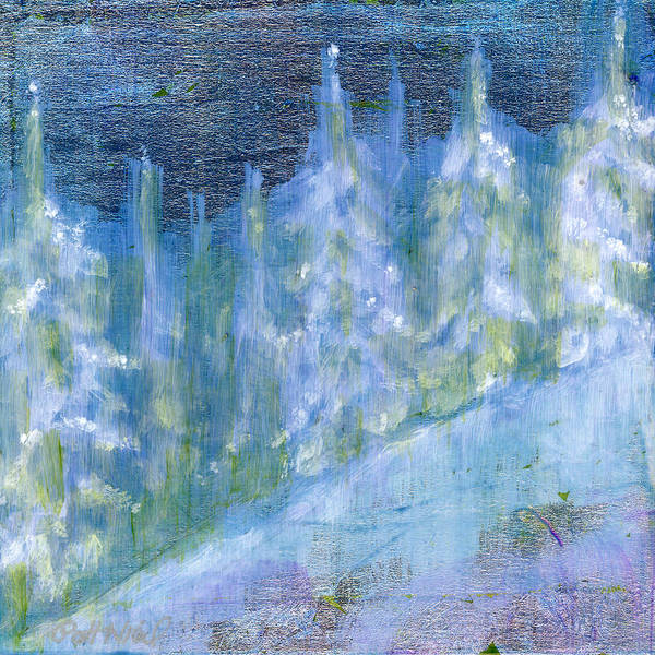 Oil Poster featuring the painting Bend Snow Trees by Patt Nicol