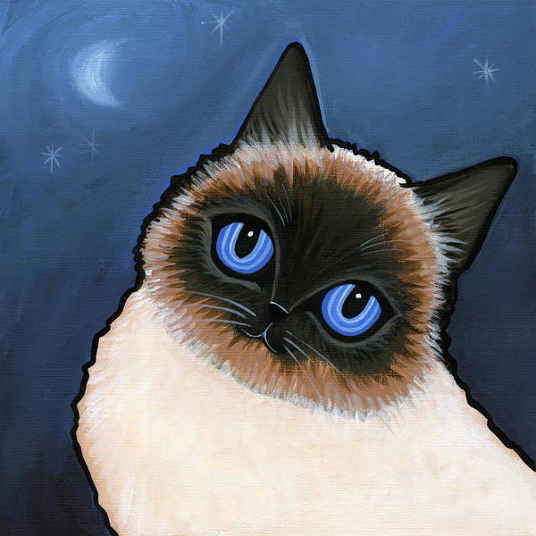 Cat Poster featuring the painting Birman Blue Night by Leanne Wilkes