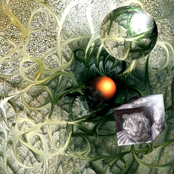 Abstract Nature Red Birth Tiger Spheres Wire Poster featuring the digital art Birth by Veronica Jackson