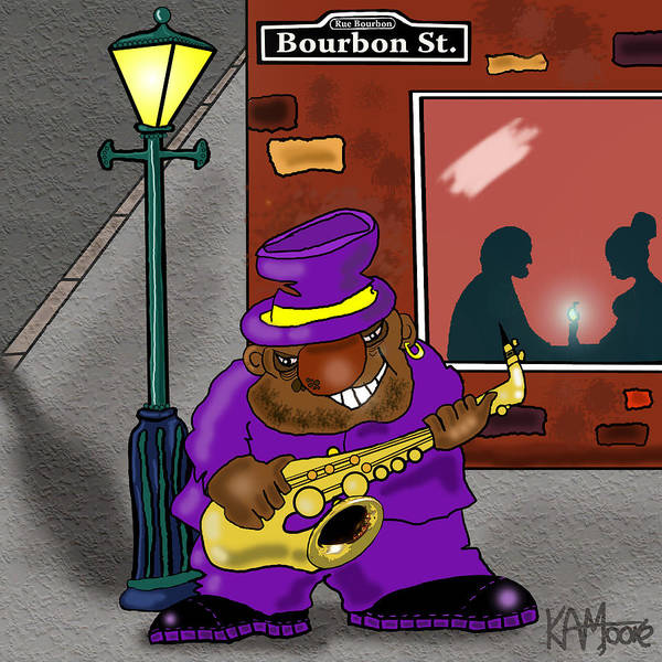 Musicians Poster featuring the drawing Blowin' On Bourbon by Kev Moore