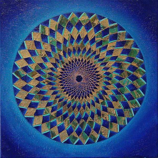 Mandala Poster featuring the painting Blue Green Planet by Charlotte Backman